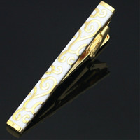 Wholesale Gift Box For Tie - Wholesale-LJ-211 Stainless Steel Gold Toned Enamel Wedding Metal Tie Clip Pin Clasp Bar + Gift Box FREE SHIPPING Tie Clip For Men Gift