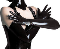 Wholesale 2014 New Sexy Shiny Fashion Black Faux leather Mittens Glove PVC PU Women s Long Gloves length cm moban