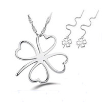 Wholesale Clover Leaf Necklace Jewelry - Love Symbol 3 Leaf Clover Necklace Earring Set,925 Sterling Silver on Platinum Plated,Clover Jewelry Set OS42