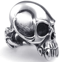 Wholesale vampires band for sale - Mens Jewelry Gothic Style Fashion Guge Stainless Steel Rock Biker Unique Design Ghost Skull Vampire Rings For Men Silver New