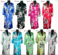 Wholesale Traditional Chinese Robes - Free shipping Chinese Traditional styleWomen's Silk Rayon Kimono Robe Gown Peafowl qipao dress 9 colors M L XL XXL S003X