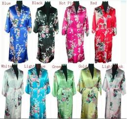 Wholesale Kimono Traditional Dress - Free shipping Chinese Traditional styleWomen's Silk Rayon Kimono Robe Gown Peafowl qipao dress 9 colors M L XL XXL S003X