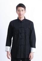 ingrosso vestito nero mandarino-Shanghai Story doppio drago ricamo giacca stile cinese manica lunga vestito di linguetta del collare del mandarino giacca kungfu top per uomo nero