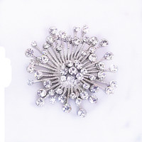 Wholesale Snowflake Brooches Vintage - 1.6 Inch Rhodium Silver Plated Vintage Snowflake Brooch Party Gift Pins