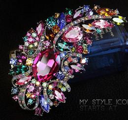Huge rHinestone broocHes online shopping - 4 quot Huge Size Elegant Multicolored Rhinestone Crystal Diamante Large Gift Brooch