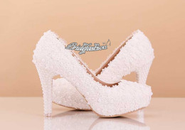 Wholesale beautiful ballet flats - 2015 Ivory Beautiful Vogue Lace Pearl High Heels Elegant Wedding Bridal Shoes Wedding Bridesmaid Shoes