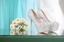 Wholesale Elegant Crystals Bridal Shoes - 2015 Shining Vogue Crystal Pearl High Heels Elegant Wedding Bridal Shoes High Quality Princess Wedding Bridesmaid Shoes
