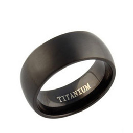 Wholesale 8mm Steel - 2017 New Arrival,8mm Width Black Titanium Ring,Treny Style for Both Women & Men's Jewelry OTR01
