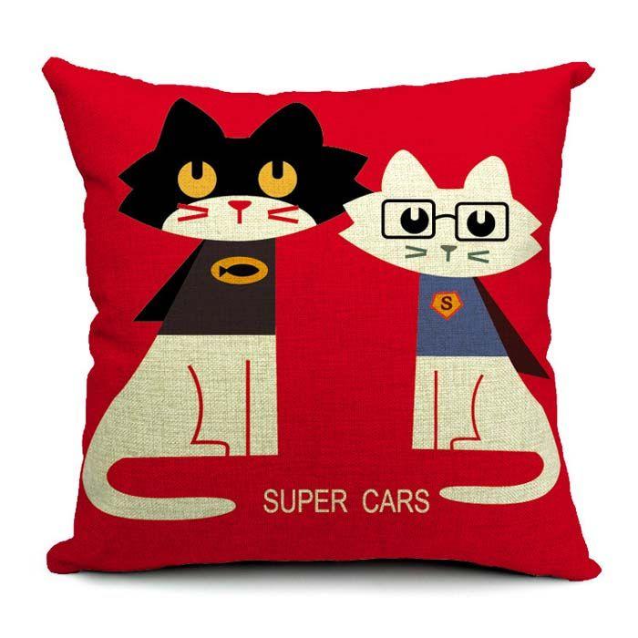 Deer Owl Panda Bear Animal Painting Cushion Covers Throw Pillow Cases Spessore Lino Cotone Cuscino Copre 45X45 cm Divano Sedia Decor