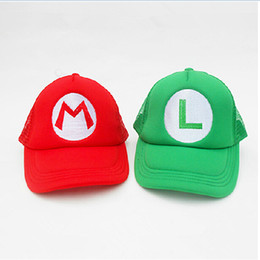 Wholesale Mario Luigi Games - Super Mario baseball hat cap Cosplay Hat Mesh hat Mario and Luigi Hats High Quality Free SHipping