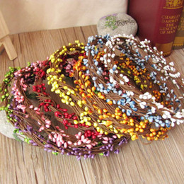 berry beads diy Coupons - Wholesale - Diy Garland Artificial Flower Head Ring Wedding Garland Pip Berry Flower Stamen DIY Wreath Simulation Flower Bead Material