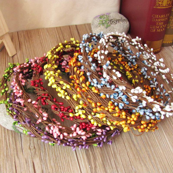 Großhandel - Diy Girlande künstliche Blume Kopf Ring Hochzeit Garland Pip Berry Flower Staubblatt DIY Kranz Simulation Blume Bead Material