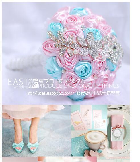 Light Blue Flowers For Weddings: 2014 Good Quality Pink And Light Sky Blue Rose Handmade