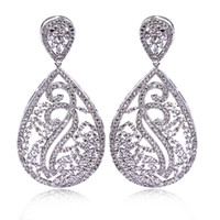 Wholesale Wedding Earings - Bridal Luxury drop earrings bridal white Bulk jewelry earings Platinum plated earrings paved with AAA cubic zirconia