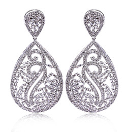 Wholesale Luxury Earings - Bridal Luxury drop earrings bridal white Bulk jewelry earings Platinum plated earrings paved with AAA cubic zirconia