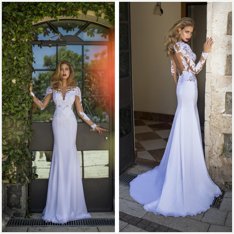 2015 New Sweetheart Long Sleeve Lace Mermaid Sheath Wedding Gowns ...