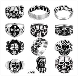 Wholesale Wholesale Pop Top Gifts - Mixed order 12pcs   lot 316L stainless steel skull Men's Rings pop punk style jewelry Top quality Christmas   Halloween gift free shipping