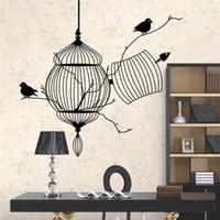 Wholesale Kids Birdcage - Vinyl Wall Art Stickers Decor Black Birdcage Decals for Living Room Bedroom Decoration
