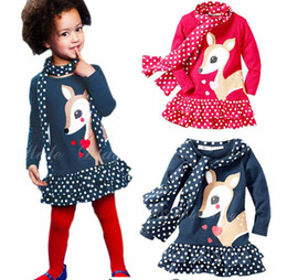 Discount dresses designs polka dots - Autumn Winter New Children Clothes Girls Polka Dot Deer Printed Ruffle Cute Christmas Baby Party Dresses Xmas Design Clo