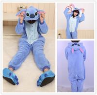Wholesale Funny Christmas Costumes - Blue Stitch Kigurumi Pajamas Animal Suits Cosplay Outfit Halloween Costume Adult Garment Cartoon Jumpsuits Unisex Animal Sleepwear