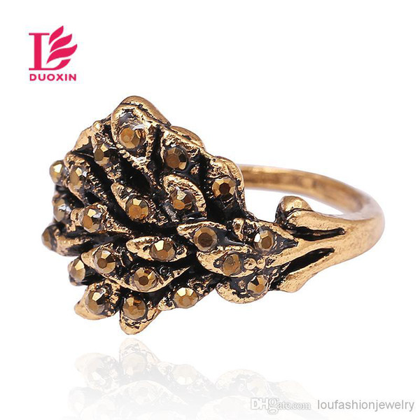 Rings For Women Multi-Style Vintage Rhinestone Cluster Rings Geometric Antique Gold Plated Zinc Alloy Rings Wholesale Bulk Jewelry Christmas