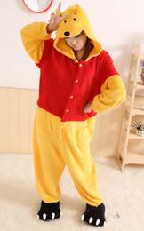 Wholesale Pooh Christmas - Winnie The Pooh Kigurumi Pajamas Animal Suits Cosplay Outfit Halloween Costume Adult Garment Cartoon Jumpsuits Unisex Animal Sleepwear