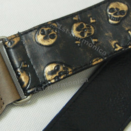 Wholesale Leather Bass Straps - New Black gold embossment skull Rock Punk Genuine Leather end Guitar Strap bass Classic Acoustic Folk wholesale Christmas gift