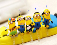 Wholesale Despicable Plug - NEW 3D Cute Despicable Me Minions anti Dust Plug Earphone Dust Plugs For iPhone iPad iPod Phone Accessories Free Shipping