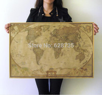 Wholesale Large World Poster - Wholesale-Free shipping Large Size Vintage Style Kraft Paper Retro Poster Home decoration 71* 46.5cm (28*18inch) Sticker Map Of The World