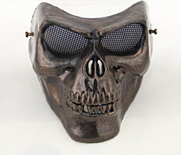 Wholesale Airsoft Full Face - Full face terror masquerade masks wholesale Skull mask Warrior armor carnival Airsoft biker mask scary Halloween Horror Mask scary mask