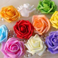 küsse köpfe großhandel-Heiße Verkaufs-künstliche Schaum-Rosen für Haus-und Hochzeits-Dekoration-Blumen-Köpfe, die Bälle für Hochzeit multi Farbe 7 cm Durchmesser küssen
