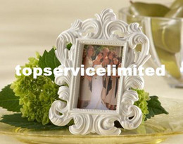 Wholesale Wedding Card Pictures - Fine 400pcs lot White Baroque photo frame wedding place card holder picture frames