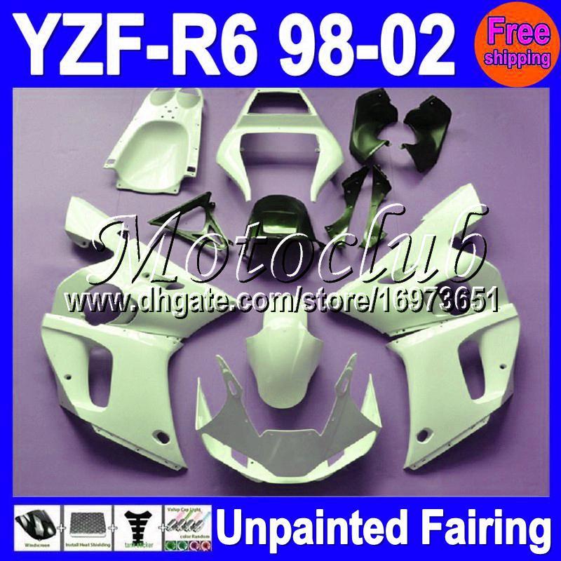 7gifts Kit de carenado completo sin pintar para YAMAHA YZF-R6 YZFR6 YZF600 YZF R6 600 98 99 00 01 02 1998 1999 2000 2001 2002 Carenados Carrocería Carrocería