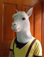 engraçado halloween trajes adultos venda por atacado-Alpaca Máscara Máscara de Cavalo Animal Engraçado Cabeça Máscara de Látex Máscara de Cosplay Adulto Máscara Traje de Halloween Teatro Prop Novelty Frete Grátis