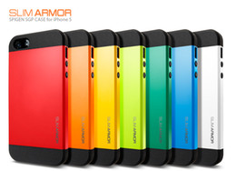 Wholesale Colorful Hybrid Slim - Free Shipping 1pcs lot Hybrid PC+Silicone SGP Slim Armor Armour Colorful Case Cover for Apple Iphone 5 5s 11 Colors Shockproof