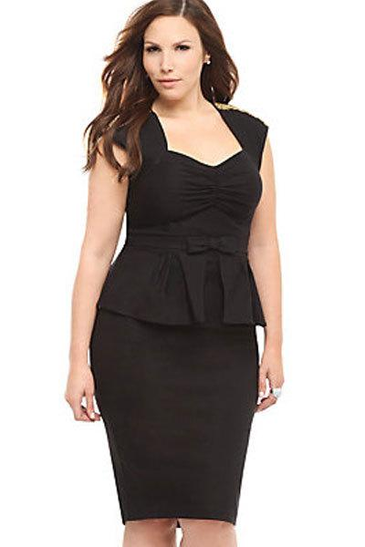 Plus Size Xxl Black Ruched Sleeveless Peplum Dress With Bow Lc6455
