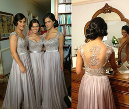 Wholesale Real Photos Brides Dresses - 2014 Sexy Silver Prom Dresses Bridesmaid Dress Lace Appliques Sequins Beads Cap Sleeves V Neck Chiffon Brides maid Dress BO2673