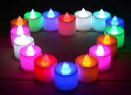 Wholesale Wholesale Plastic Flameless Candles - LED wedding tealights electronic candle light party event flameless flickering battery candles plastic Home Décor colorful