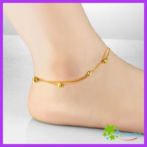 Nouvelle Arrivée Femmes Bracelets De Cuivre Cuivre 18k Or Jaune Pied Bracelet Réglable Chaîne De Cheville Perles Jambe Bijoux