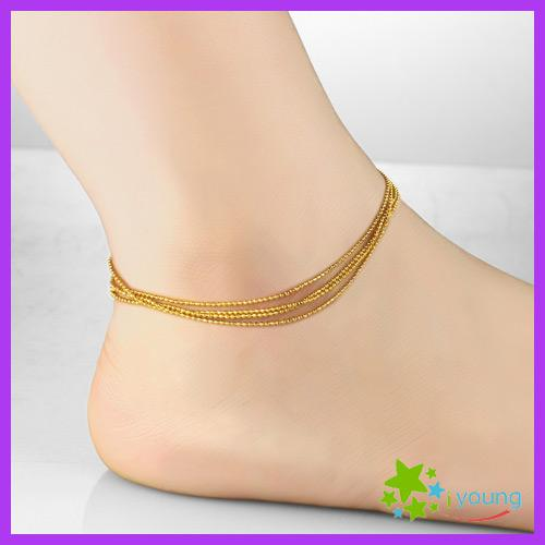 27ed088cd3c 2019 Fashion Brand Womens Anklets 18k Gold Filled Feet Bracelet Four Strand  Lucky Beads Ankle Chain Leg Jewelry Bridal Gift From Lyso