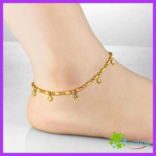 6a0189620dc Vintage Womens Anklets 18k Gold Filled Foot Bracelet Heart Lucky Beads  Expandable Ankle Chain Leg Jewelry Bridal Gift
