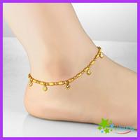 dolgu boncukları toptan satış-Vintage Bayan Halhal 18 k Altın Dolgulu Ayak Bilezik Kalp Şanslı Boncuk Genişletilebilir Ayak Bileği Zincir Bacak Takı Gelin Hediye