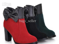 Cheap Women Ankle Boots Suede + Rubber Bowknot Sole Noir Rouge Vert 3Colors High Heel 2013 New Arrival 1prs Lot Livraison gratuite 130715A8