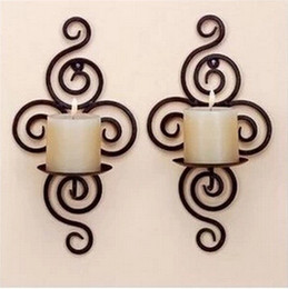 Argentina Artesanías de hierro decoración del hogar decoración de la boda candeleros montado en la pared soporte de la vela decoración de la pared breve diseño deocration pared Suministro