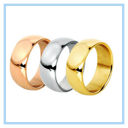 EngagEmEnt gold rings for man online shopping - 5 mm Colors Gold Plated High Polish Band Finger Ring L Stainless Steel Couple Wedding Engagement Rings for Women Men