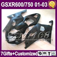 Wholesale Decal Suzuki - 7gifts+CowlFor 01 02 03 SUZUKI K1 ALL Flat black GSXR750 GSXR600 2001 2002 2003 GSXR 600 750 SZ2A51 GSX R600 R750 -R600 no decals Fairing