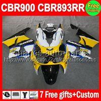 Wholesale Cbr Fairings For Sale - 7gifts For HONDA CBR900RR yellow blue CBR893RR 89-97 CBR893 RR C#L454 CBR 893 RR 89 90 91 92 93 94 95 96 97 NEW Yellow white Fairing On Sale