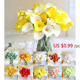 Wholesale Mini Calla Lily Flowers - White Mini PU Real Touch Calla Lily Artificial Flowers Bridal Bouquet Decorative Flowers Home Decor Wedding Decoration,10pcs lot