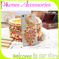 Pour Apple iphone 4 4s 5 5s 5c Couverture De Luxe Peacock Crystal Transparent Bling Diamant Strass Téléphone Cellulaire Cas De Protection 10 PCs Par Lot