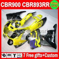 Wholesale Cbr Fairings For Sale - Factory yellow 7gifts For HONDA CBR900RR CBR893RR 89-97 CBR893 RR C#L465 CBR 893 RR 89 90 91 92 93 94 95 96 97 Fairing yellow black On Sale